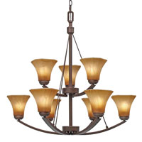 Golden Lighting Accurian 9 Light Chandelier in Rubbed Bronze with Chiseled Antique Marble Glass 7158-9-RBZ