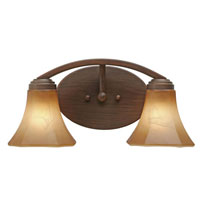 Golden Lighting Accurian 2 Light Bath Fixture in Rubbed Bronze with Chiseled Antique Marble Glass 7158-BA2-RBZ
