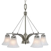 Golden Lighting Accurian 5 Light Chandelier in Pewter with Chiseled Marble Glass 7158-D5-PW
