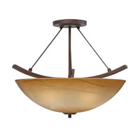 Golden Lighting Accurian 3 Light Convertible Semi-Flush in Rubbed Bronze with Chiseled Antique Marble Glass 7158-SF-RBZ alternative photo thumbnail