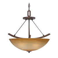 Golden Lighting Accurian 3 Light Convertible Semi-Flush in Rubbed Bronze with Chiseled Antique Marble Glass 7158-SF-RBZ