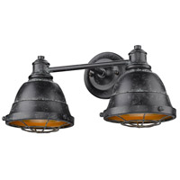 Golden Lighting 7312-BA2 BP Bartlett 2 Light 17 inch Black Patina Bath Fixture Wall Light