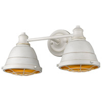 Golden Lighting 7312-BA2 FW Bartlett 2 Light 17 inch French White Bath Fixture Wall Light