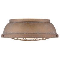 Golden Lighting 7312-FM16 CP Bartlett 3 Light 17 inch Copper Patina Flush Mount Ceiling Light Damp