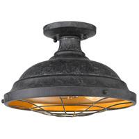 Golden Lighting 7312-SF BP Bartlett 2 Light 14 inch Black Patina Semi-Flush Ceiling Light Damp