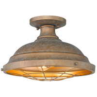 Golden Lighting 7312-SF CP Bartlett 2 Light 14 inch Copper Patina Semi-Flush Ceiling Light Damp