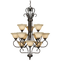 Multi-Family 12 Light 28 inch Rubbed Bronze Chandelier Ceiling Light in Tea Stone Glass, 3 Tier