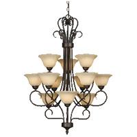 Golden Lighting 7623-RBZ-TEA Multi-Family 12 Light 28 inch Rubbed Bronze Chandelier Ceiling Light in Tea Stone Glass 3 Tier
