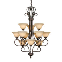 Golden Lighting Centennial 12 Light Chandelier in Rubbed Bronze 7623-RBZ-TEA