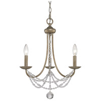 Golden Lighting Mirabella 3 Light Mini Chandelier in Golden Aura with Pearl Chiffon Shade 7644-M3-GA