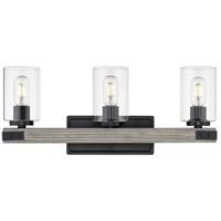 Golden Lighting 7808-BA3-BLK-CLR Lowell 3 Light 23 inch Matte Black Bath Fixture Wall Light