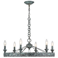 Ferris 6 Light 27 inch Blue Verde Patina Chandelier Ceiling Light