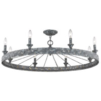 Ferris 8 Light 36 inch Blue Verde Patina Semi-Flush Mount Ceiling Light, Low Profile