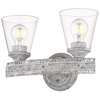 Golden Lighting 7856-BA2 OY-CLR Ferris 2 Light 14 inch Oyster Bath Fixture Wall Light