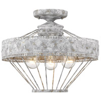 Golden Lighting 7856-SF-OY Ferris 3 Light 15 inch Oyster Semi-Flush Mount Ceiling Light