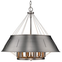 Golden Lighting 7917-6P AS Whitaker 6 Light 25 inch Aged Steel Pendant Ceiling Light Drum