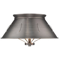 Whitaker 2 Light 14 inch Aged Steel Flush Mount Ceiling Light