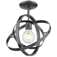 Golden Lighting 7936-1SF-BS-BS-BS Atom 1 Light 12 inch Brushed Steel Semi-Flushmount Ceiling Light Convertible to Pendant