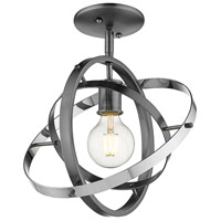 Golden Lighting 7936-1SF-BS-BS-CH Atom 1 Light 12 inch Brushed Steel and Chrome Semi-Flushmount Ceiling Light Convertible to Pendant