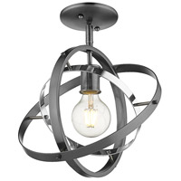 Golden Lighting 7936-1SF-BS-CH-BS Atom 1 Light 12 inch Brushed Steel and Chrome Semi-Flushmount Ceiling Light Convertible to Pendant