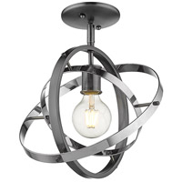 Golden Lighting 7936-1SF-BS-CH-CH Atom 1 Light 12 inch Brushed Steel and Chrome Semi-Flushmount Ceiling Light Convertible to Pendant