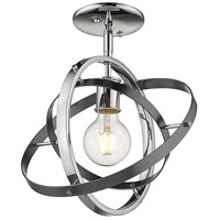 Golden Lighting 7936-1SF-CH-BS-BS Atom 1 Light 12 inch Chrome and Brushed Steel Semi-Flushmount Ceiling Light Convertible to Pendant