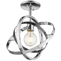 Golden Lighting 7936-1SF-CH-BS-CH Atom 1 Light 12 inch Chrome and Brushed Steel Semi-Flushmount Ceiling Light Convertible to Pendant