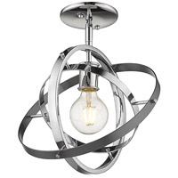 Golden Lighting 7936-1SF-CH-CH-BS Atom 1 Light 12 inch Chrome and Brushed Steel Semi-Flushmount Ceiling Light Convertible to Pendant