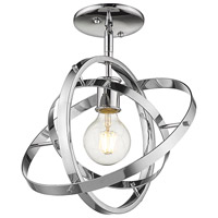 Golden Lighting 7936-1SF-CH-CH-CH Atom 1 Light 12 inch Chrome Semi-Flushmount Ceiling Light Convertible to Pendant