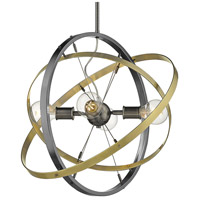Golden Lighting 7936-4-BS-AB-AB Atom 4 Light 22 inch Brushed Steel and Aged Brass Chandelier Ceiling Light