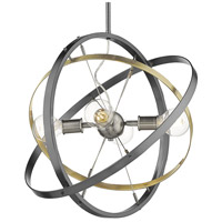 Golden Lighting 7936-4-BS-AB-BS Atom 4 Light 22 inch Brushed Steel and Aged Brass Chandelier Ceiling Light