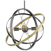 Golden Lighting 7936-4-BS-BS-AB Atom 4 Light 22 inch Brushed Steel and Aged Brass Chandelier Ceiling Light