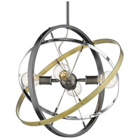 Golden Lighting 7936-4-BS-CH-AB Atom 4 Light 22 inch Brushed Steel and Chrome with Aged Brass Chandelier Ceiling Light