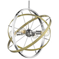 Golden Lighting 7936-4-CH-AB-AB Atom 4 Light 22 inch Chrome and Aged Brass Chandelier Ceiling Light