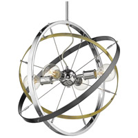 Golden Lighting 7936-4-CH-AB-BS Atom 4 Light 22 inch Chrome and Aged Brass with Brushed Steel Chandelier Ceiling Light