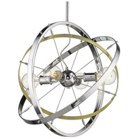 Golden Lighting 7936-4-CH-AB-CH Atom 4 Light 22 inch Chrome and Aged Brass Chandelier Ceiling Light