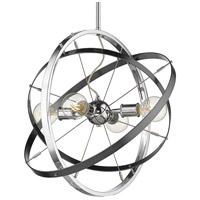 Golden Lighting 7936-4-CH-BS-BS Atom 4 Light 22 inch Chrome and Brushed Steel Chandelier Ceiling Light
