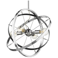 Golden Lighting 7936-4-CH-BS-CH Atom 4 Light 22 inch Chrome and Brushed Steel Chandelier Ceiling Light