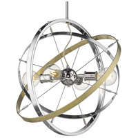 Golden Lighting 7936-4-CH-CH-AB Atom 4 Light 22 inch Chrome and Aged Brass Chandelier Ceiling Light