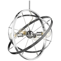 Golden Lighting 7936-4-CH-CH-BS Atom 4 Light 22 inch Chrome and Brushed Steel Chandelier Ceiling Light