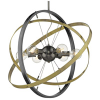 Golden Lighting 7936-6-BS-AB-AB Atom 6 Light 28 inch Brushed Steel and Aged Brass Chandelier Ceiling Light