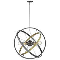 Golden Lighting 7936-6-BS-AB-BS Atom 6 Light 28 inch Brushed Steel and Aged Brass Chandelier Ceiling Light alternative photo thumbnail