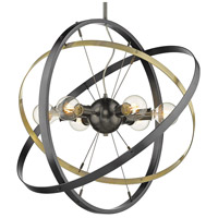 Golden Lighting 7936-6-BS-AB-BS Atom 6 Light 28 inch Brushed Steel and Aged Brass Chandelier Ceiling Light