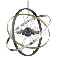Golden Lighting 7936-6-BS-AB-CH Atom 6 Light 28 inch Brushed Steel and Aged Brass with Chrome Chandelier Ceiling Light