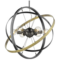 Golden Lighting 7936-6-BS-BS-AB Atom 6 Light 28 inch Brushed Steel and Aged Brass Chandelier Ceiling Light