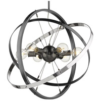 Golden Lighting 7936-6-BS-BS-CH Atom 6 Light 28 inch Brushed Steel and Chrome Chandelier Ceiling Light