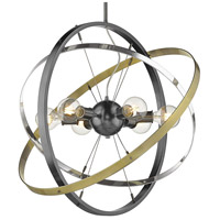Golden Lighting 7936-6-BS-CH-AB Atom 6 Light 28 inch Brushed Steel and Chrome with Aged Brass Chandelier Ceiling Light