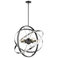 Golden Lighting 7936-6-BS-CH-CH Atom 6 Light 28 inch Brushed Steel and Chrome Chandelier Ceiling Light