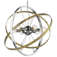 Golden Lighting 7936-6-CH-AB-AB Atom 6 Light 28 inch Chrome and Aged Brass Chandelier Ceiling Light