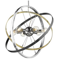 Golden Lighting 7936-6-CH-AB-BS Atom 6 Light 28 inch Chrome and Aged Brass with Brushed Steel Chandelier Ceiling Light